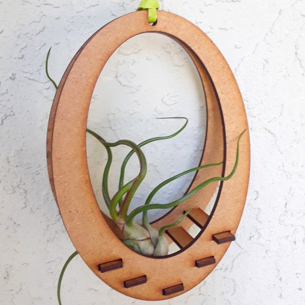 wooden hanging air plant holder