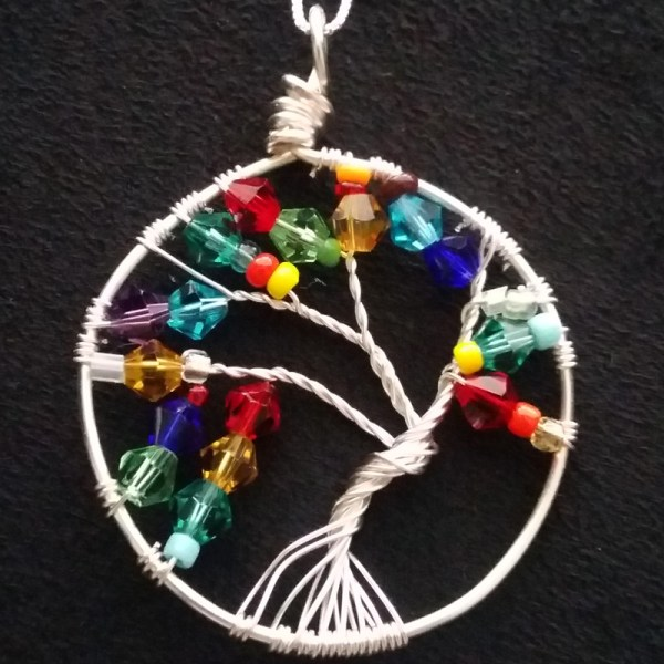 tree of life pendant necklace in rainbow colors