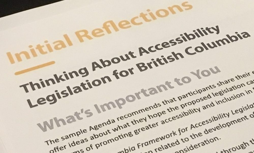 Decorative picture of the documents received during the consultations for the Framework for Accessibility Legislation in British Columbia