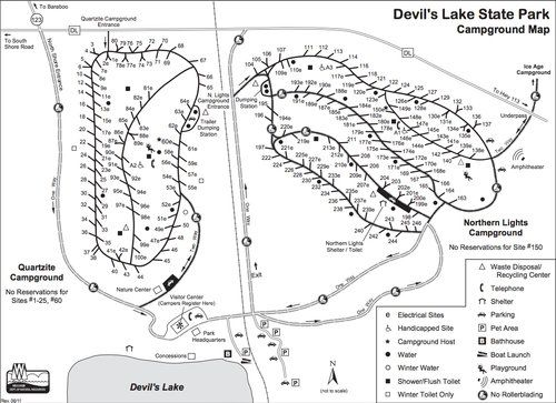 Quartzite & Northern Lights Campground map at Devil's Lake