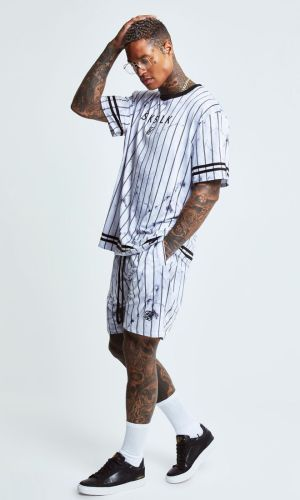 SikSilk Marble Relaxed Shorts - White & Grey