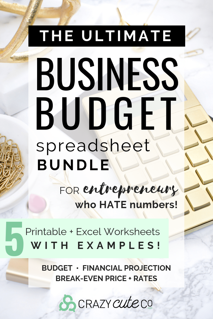 The ULTIMATE BUSINESS BUDGET SPREADSHEET Bundle for the #entrepreneur who HATES numbers! Get 5 Printable + Excel Worksheets with examples! Crush your Business budget, Financial projection, and calculate Break-Even price and rates.