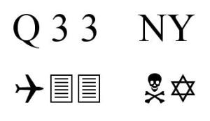 "The ""Q33 NY"" symbols typed out in Wingdings"