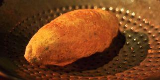 A crisp, hot, heavenly Bhatura! (a kind of deep-fried Indian bread)