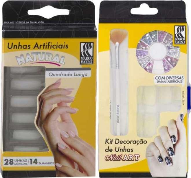 Unhas artificiais e kits de decoração contribuem para a beleza das mãos,