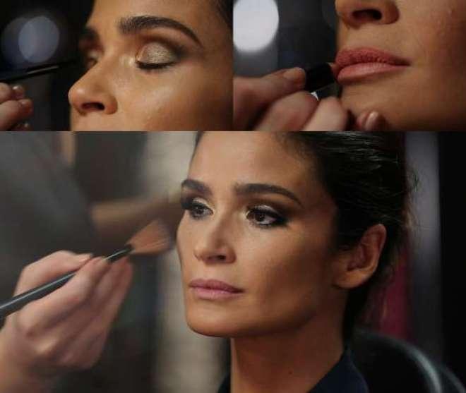 A modelo, que será apresentadora do Oscar 2015® na TNT, usará tons marrons e dourados, em um look leve e sofisticado para o evento.