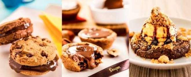 Da esq,. para a dir., Brigacookie, Chocolate Cookie Cup e Cookie Gelato são os lançamentos da biscoiteria para a estação.