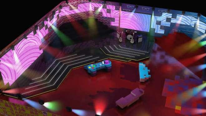 Painéis de led circundam todo cenário dando um aspecto moderno e facilitando a mudança de ambientação no programa.