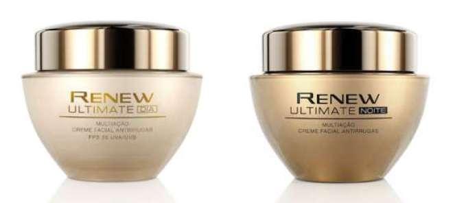 Renew Ultimate Dia e Renew Ultimate Noite: com a mesma tecnologia exclusiva Celluvive Complex e minerais preciosos, que promove a firmeza da pele, combatem os múltiplos sinais da idade.
