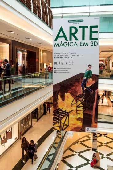"""Exposição """"Arte Mágica em 3D"""" leva obras anamórficas e hiper-realistas ao centro de compras."""