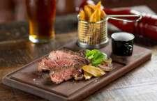 Opção do Camden House para Angus Beef Week - Fraldinha Angus, fritas da casa, molho vinho tinto, alho confit e cogumelos.