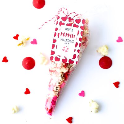 Valentine's Day Popcorn Treats with a Free Printable Tag