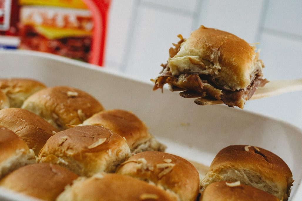Celebrate the big game with these tasty French Dip Sliders using Hillshire Farm thin sliced roast beef #ad #TysonWinningLineup #Walmart
