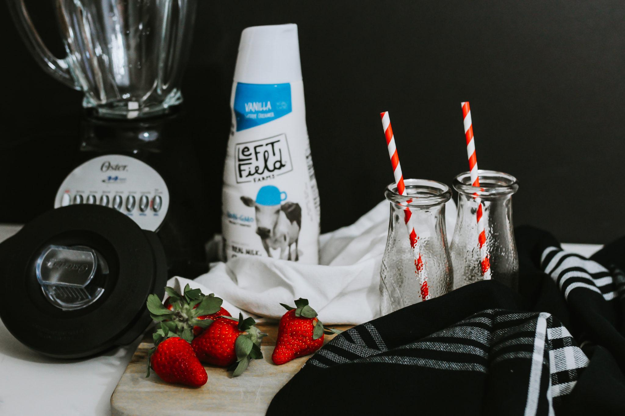 #AD #LeftFieldFarms Thick, creamy Strawberry and Cream Milkshake made with non-GMO vanilla coffee creamer instead of ice cream. Learn more srcset=