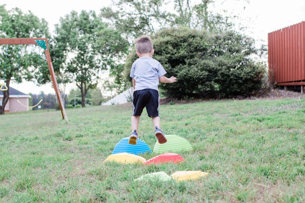 toddler balance and coordination, toddler activities, indoor and outdoor stepping stones for toddlers to promote better balance and strength