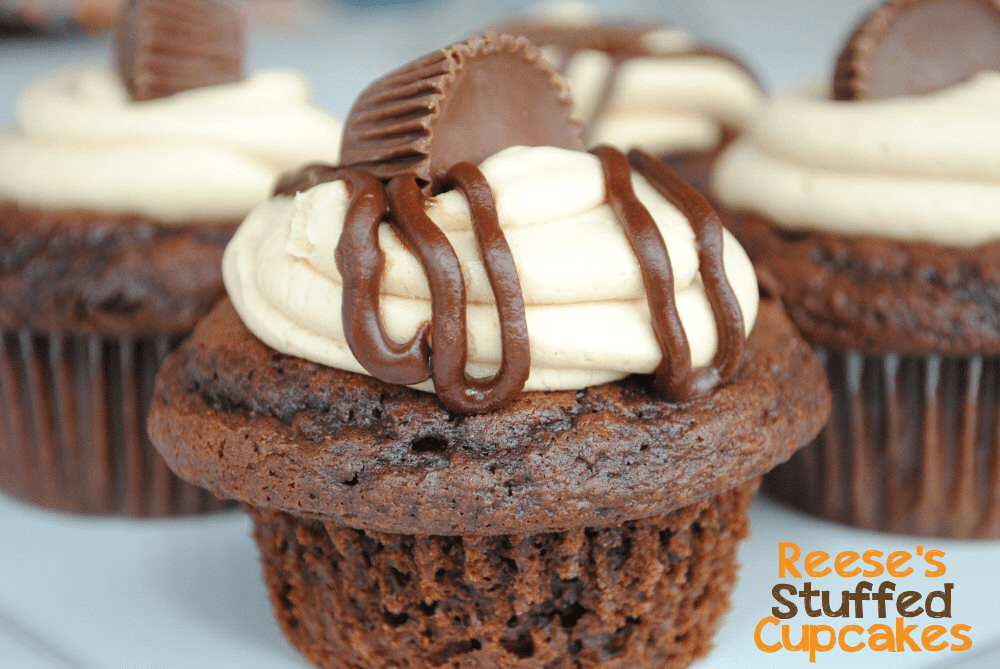 Reese's Peanut Butter Cup Cupcakes from CrazyLittleProjects.com There's a Reese's INSIDE!!  #cupcakes #reeses
