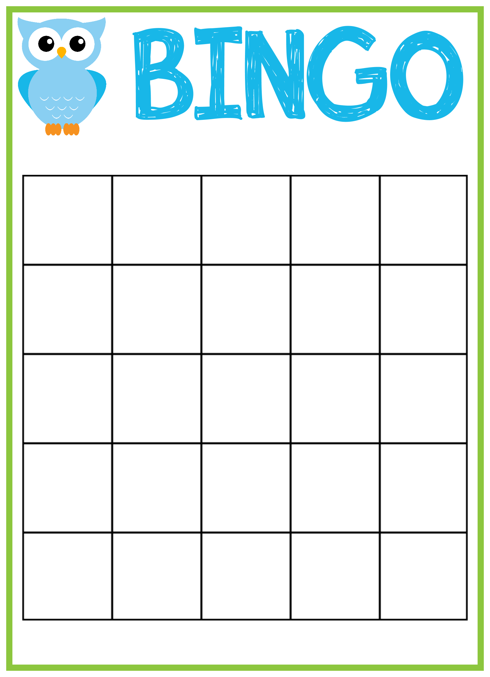 Owl Baby Shower Bingo Cards
