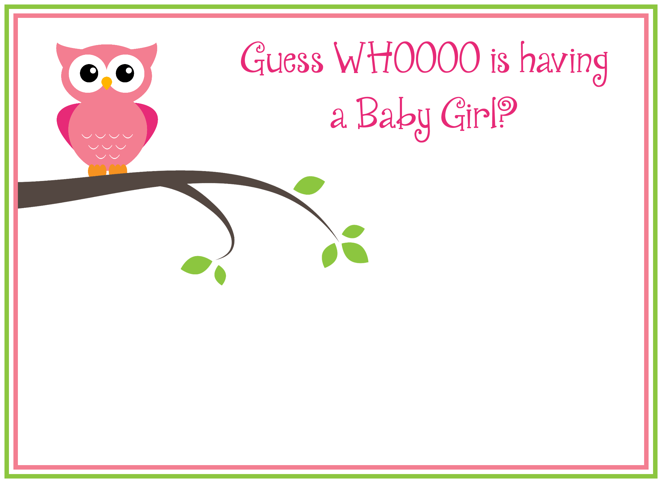 Free Printable Girl S Owl Baby Shower Invitations