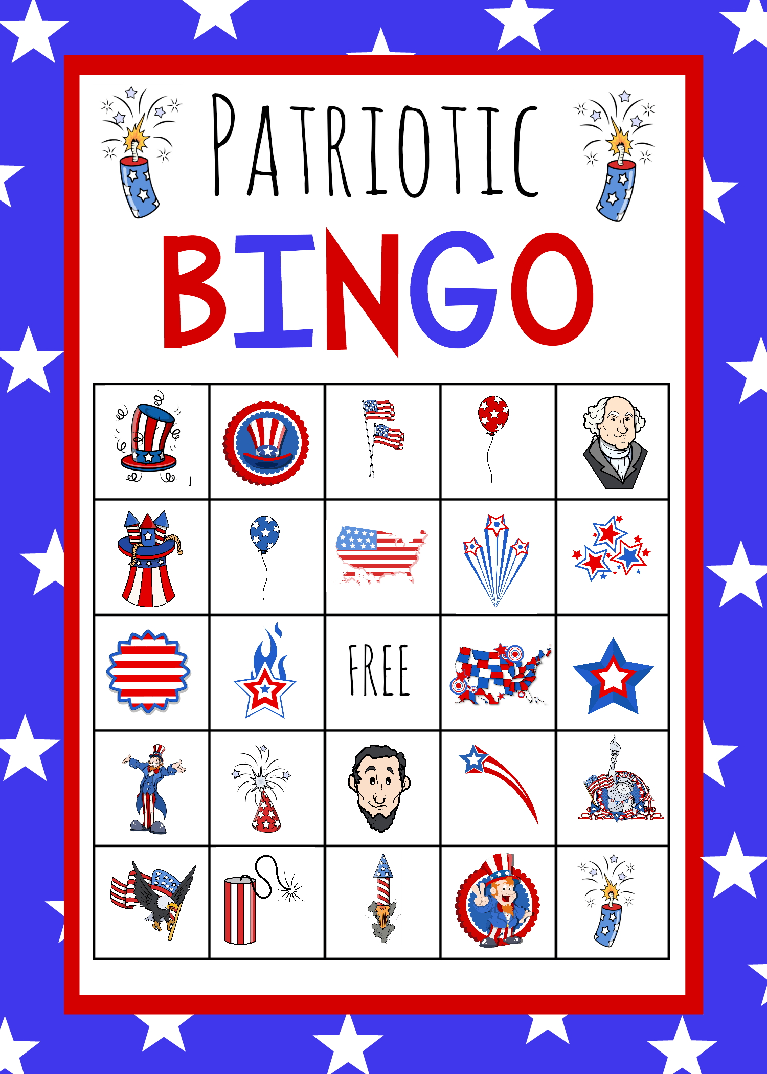 Patriotic 4th Of July Bingo Game