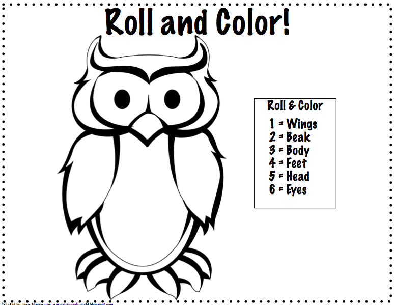 Roll And Color Dice Game Printable Sketch Coloring Page