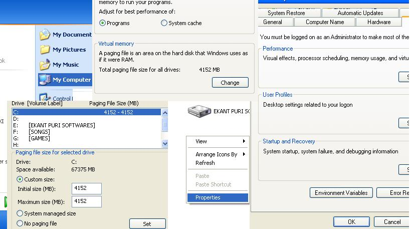 Increase RAM on Windows Xp, Windows Vista, Windows 7 and 8