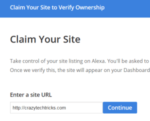 Claim your website or blog on Alexa