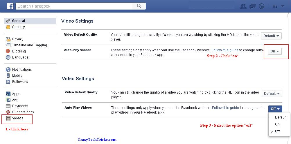 disable Facebook Autoplay Video