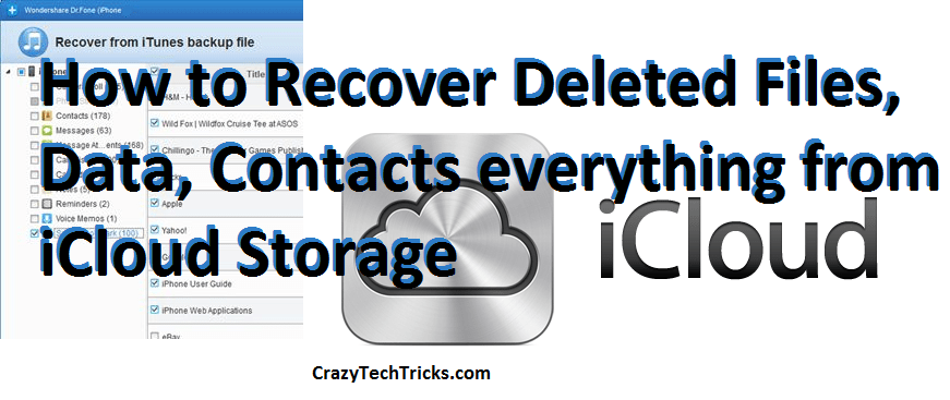 How to Recover Deleted Files, Data, Contacts everything from iCloud Storage