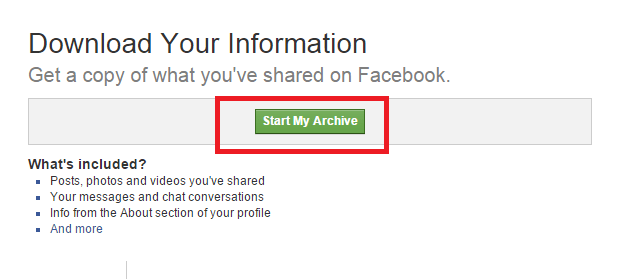 start my archive facebook