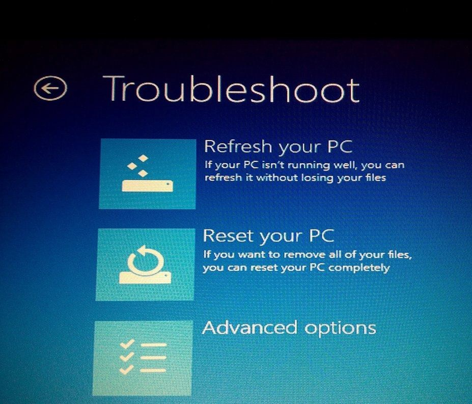 Refresh your PC, Reset your PC and Advanced options - USE Recovery Drive in Windows 8, 8.1 and 10