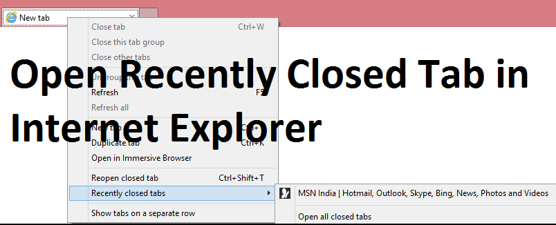 Open Recently Closed Tab in Internet Explorer