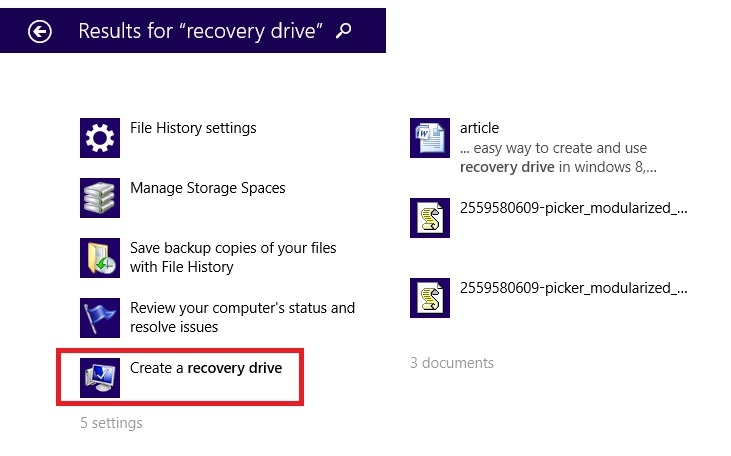 search recovery drive on your computer