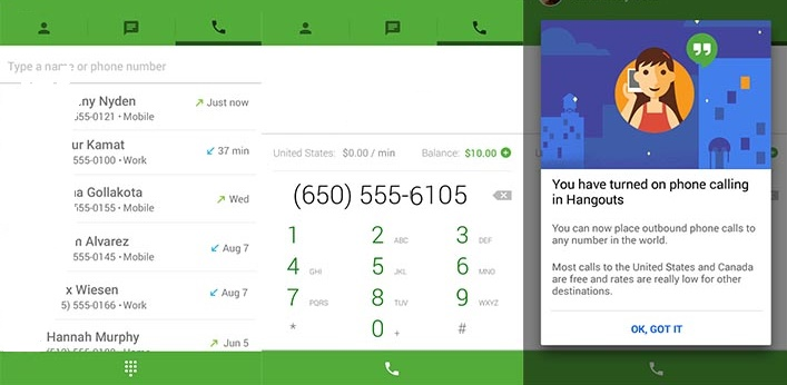 Google Hangouts Best Android App to make Free Calls - National or International Free Voice Calling