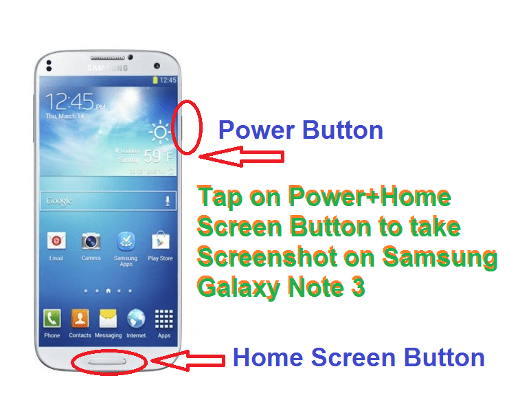 Tap on Power+Home Screen Button to take Screenshot on Samsung Galaxy Note 3