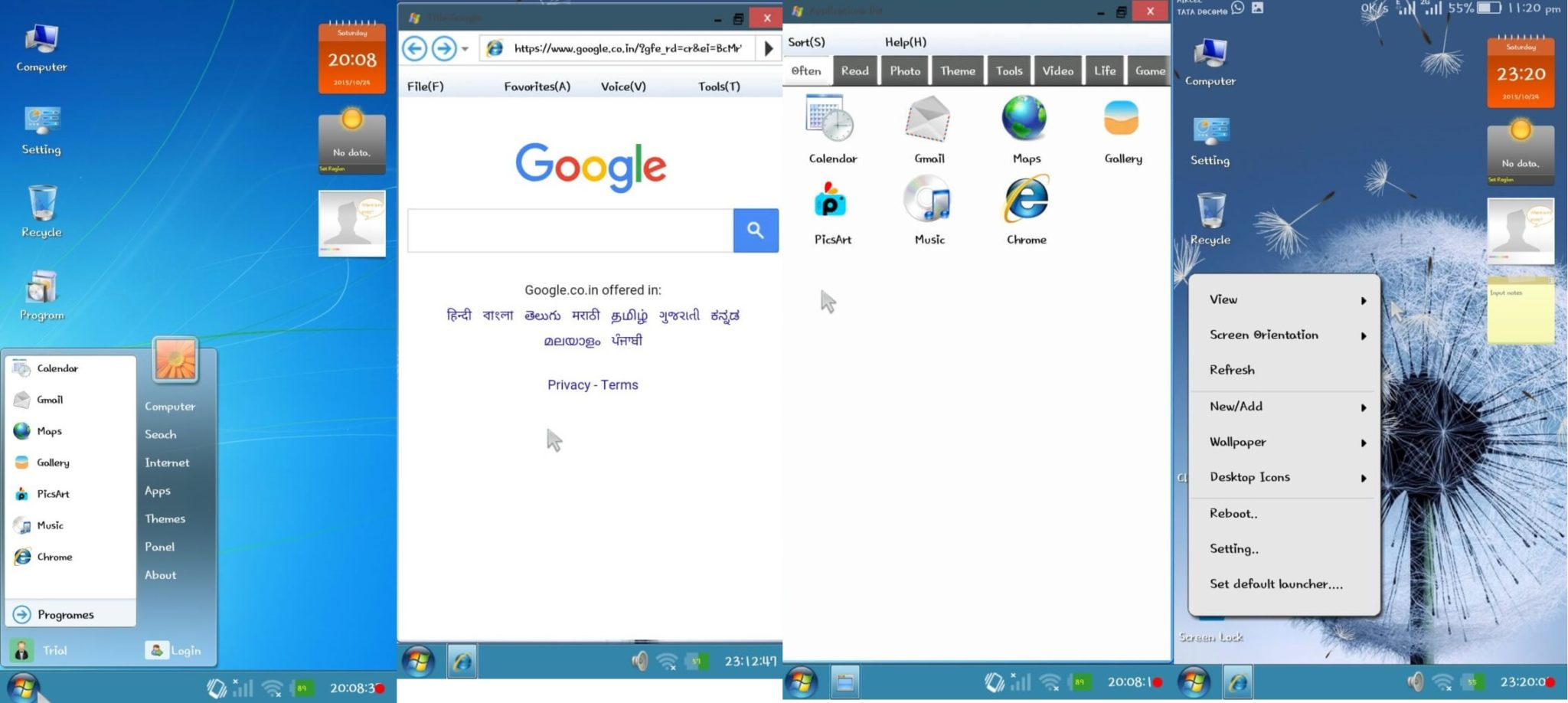 Windows 7 launcher for Android apk Free Download