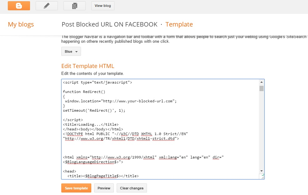 click on Edit Template HTML. Copy the code listed below and paste at the top