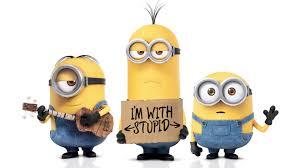 cartoon -minnios - im with stupid
