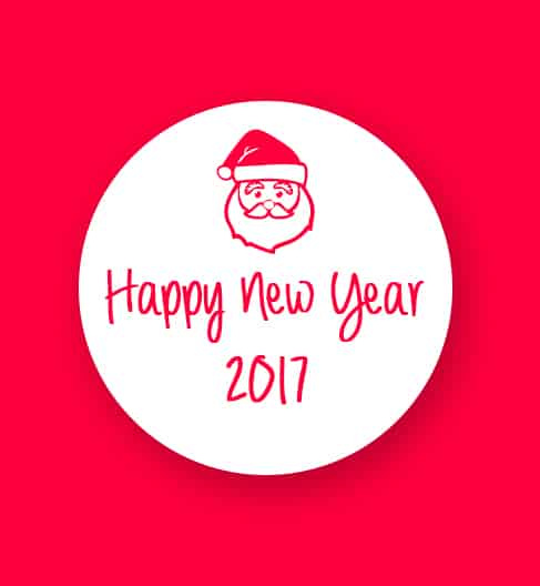 Happy New Year 2017 greeting card with santa face