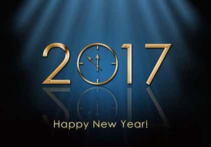 Happy New Year 2017 greeting with a clock and blue color background