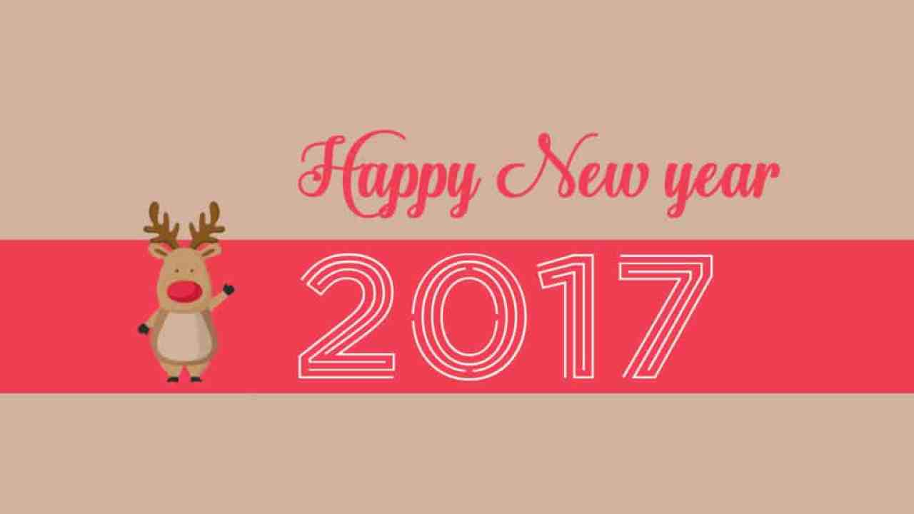 Happy New Year 2017 saying reindeer