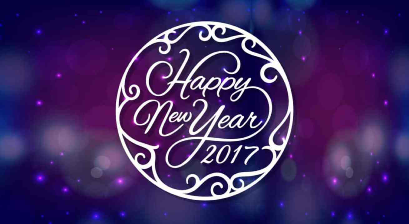 Happy New Year 2017 wishes with dark blue background