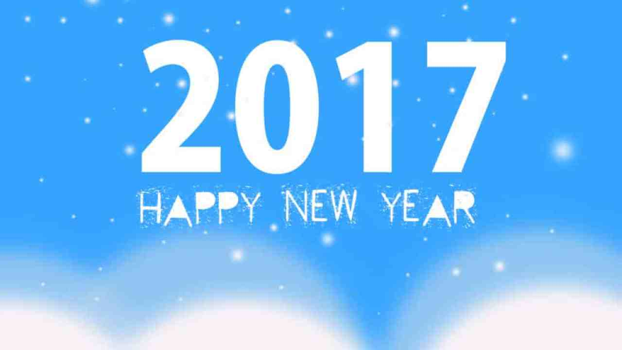 Happy New Year 2017 with a blue background