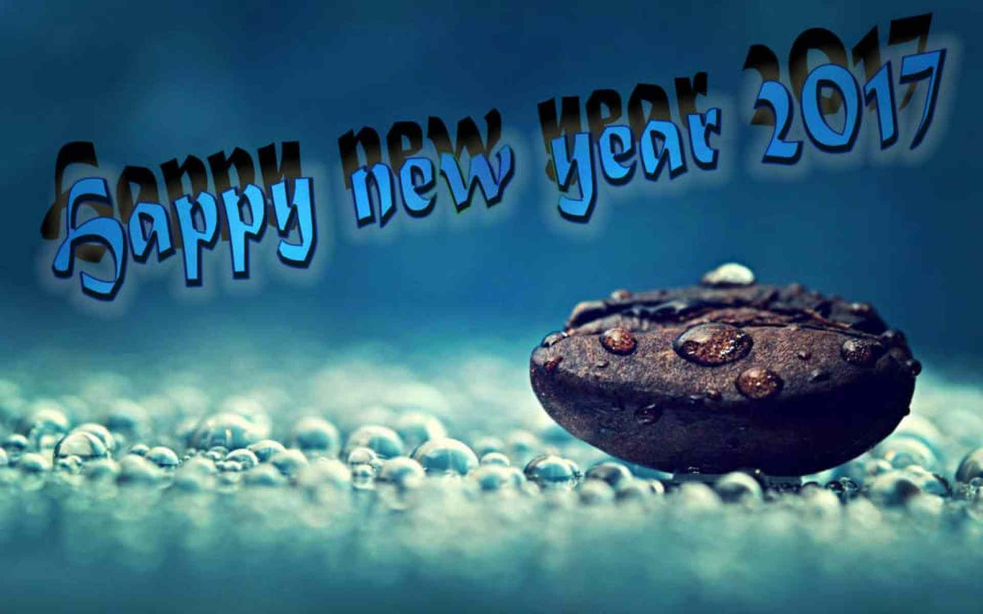Happy New Year 2017 with a chocolate cookie