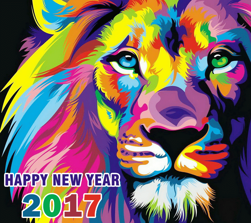 Happy New Year 2017 with colorfull lion face