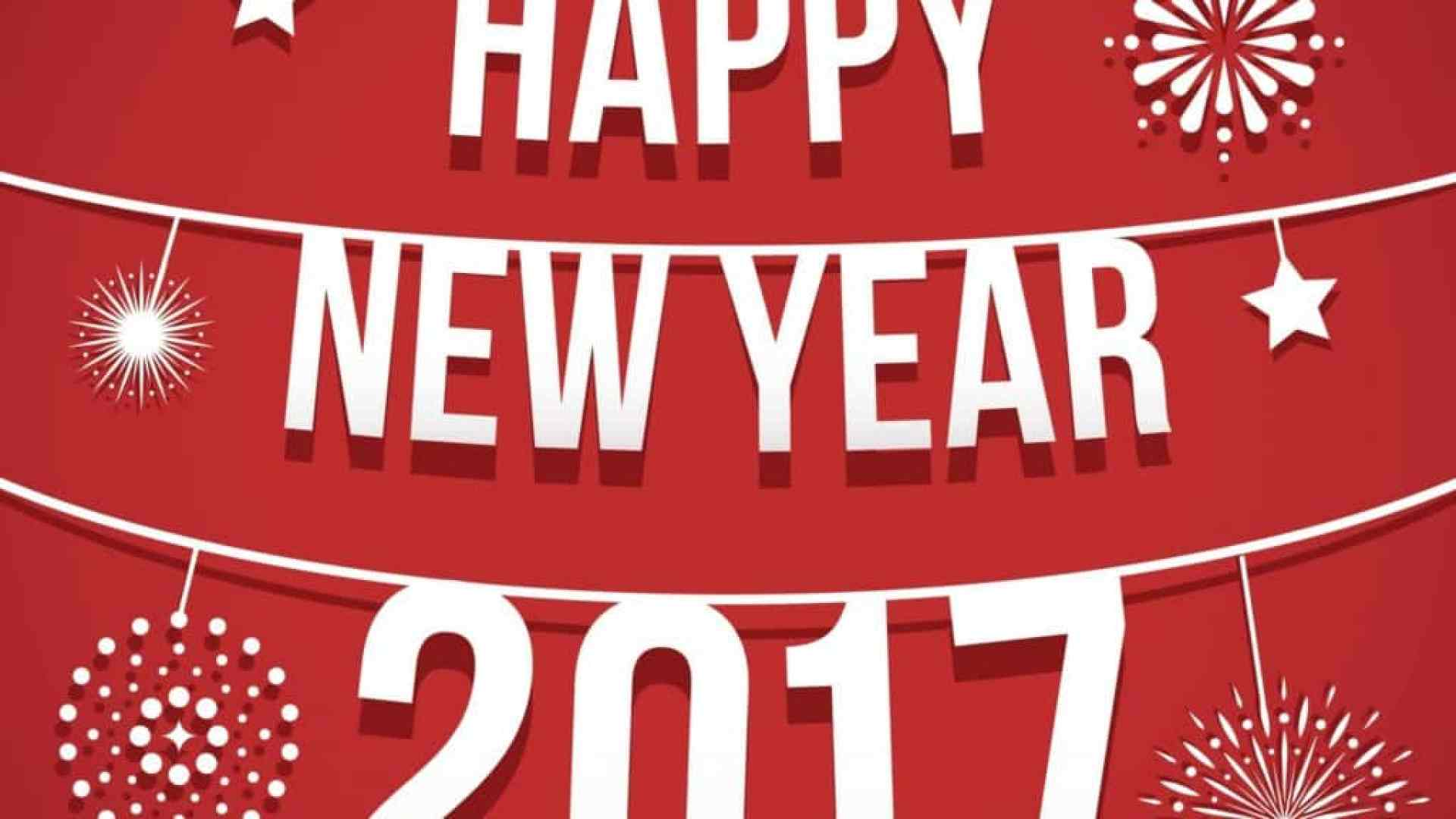 Happy New Year 2017 with decoration on red background