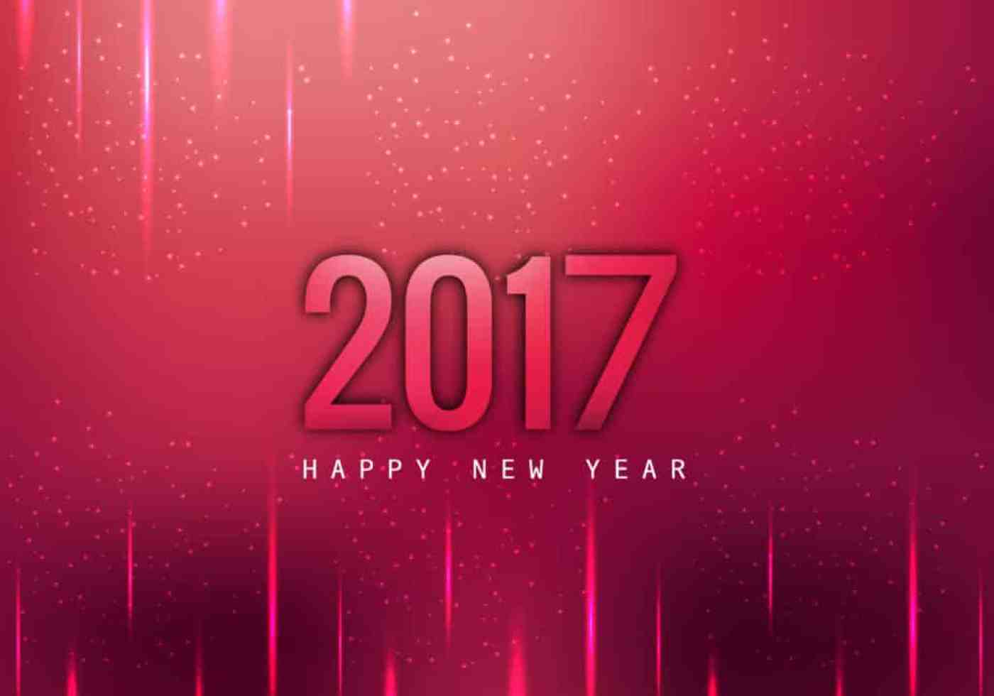 Happy New Year 2017 with glowing red background