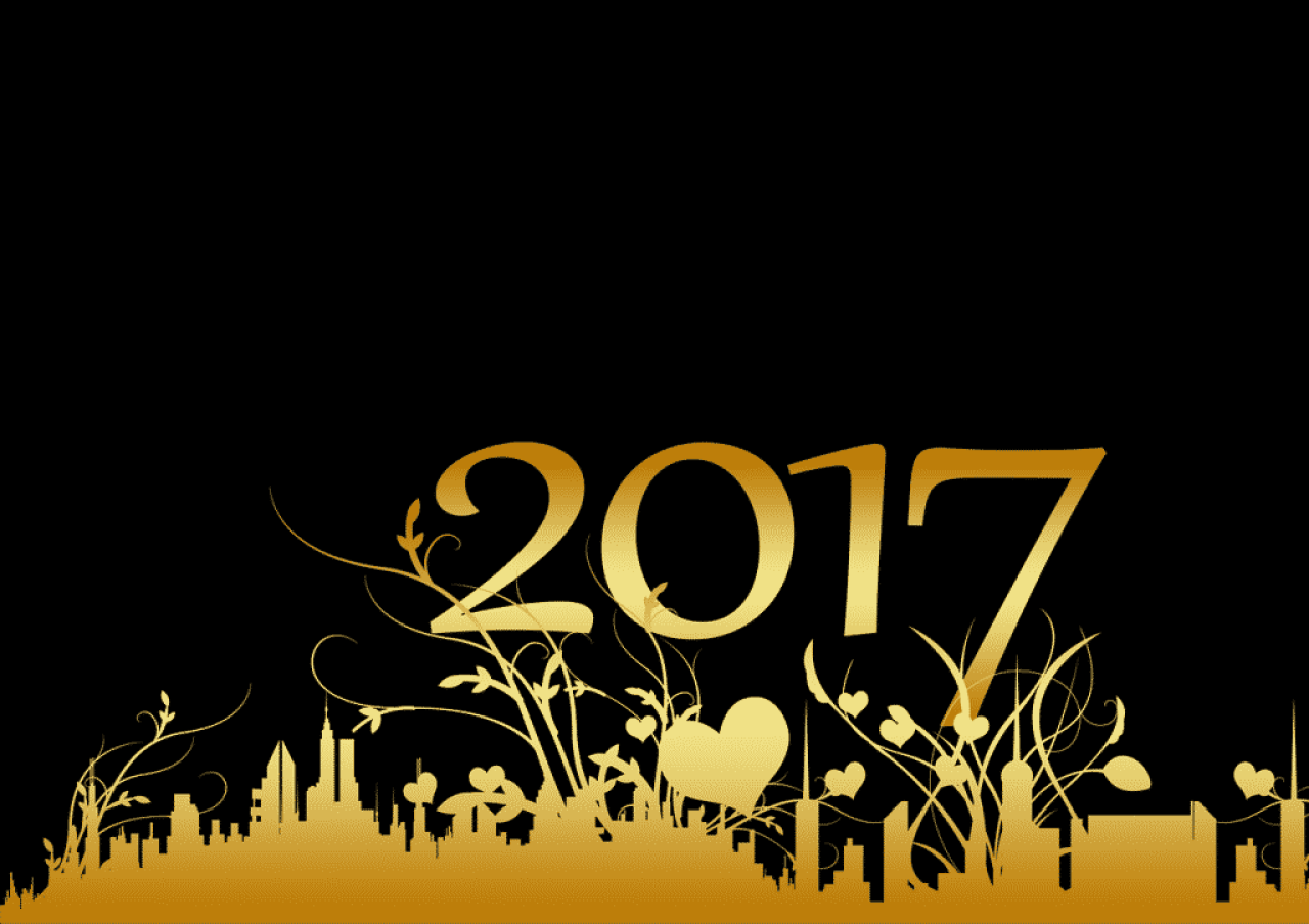 Happy New Year 2017 with golden hearts