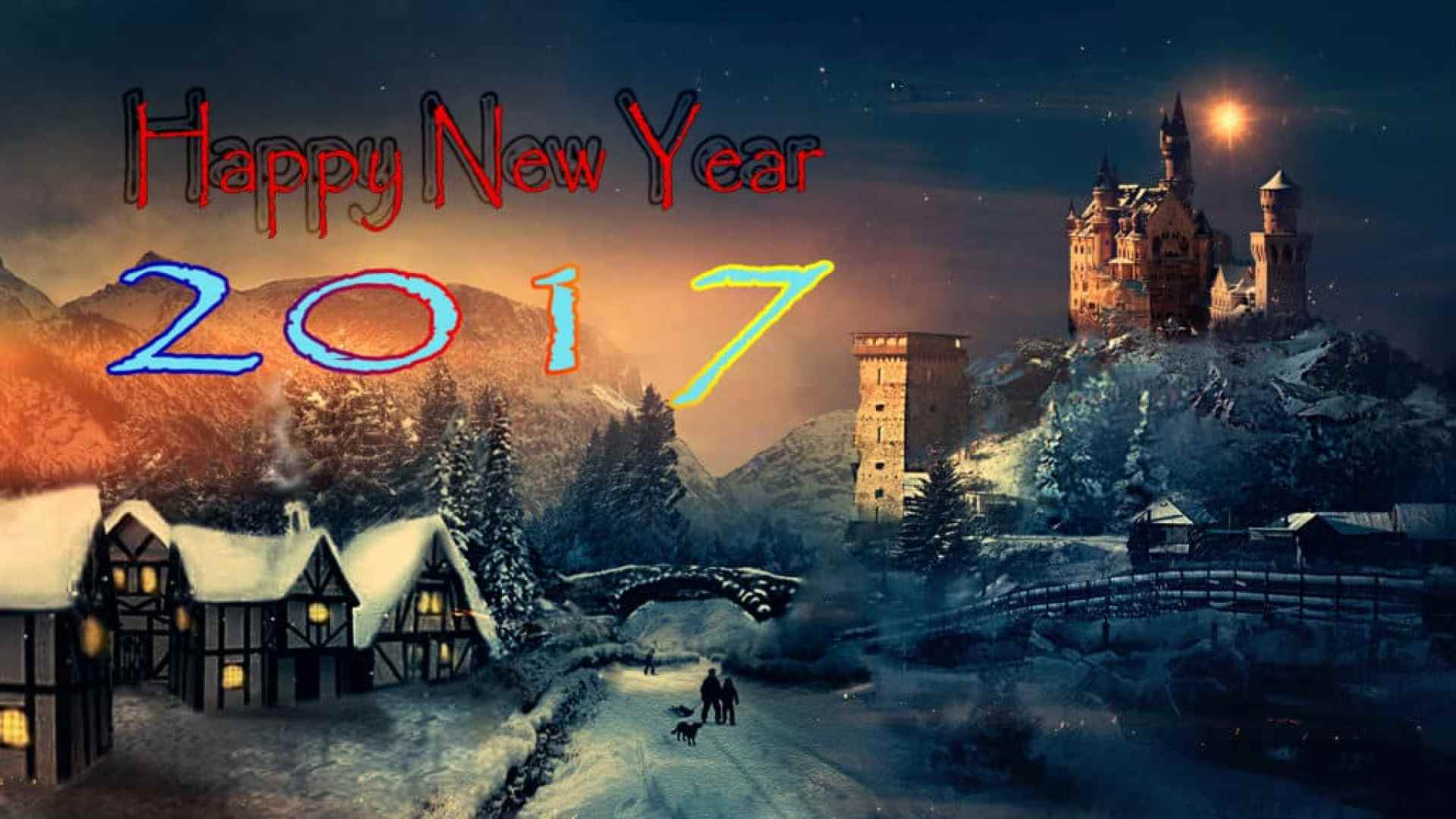 Happy New Year 2017 with hiily background