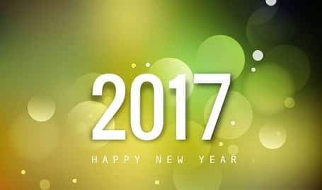 Happy New Year 2017 with light gree background