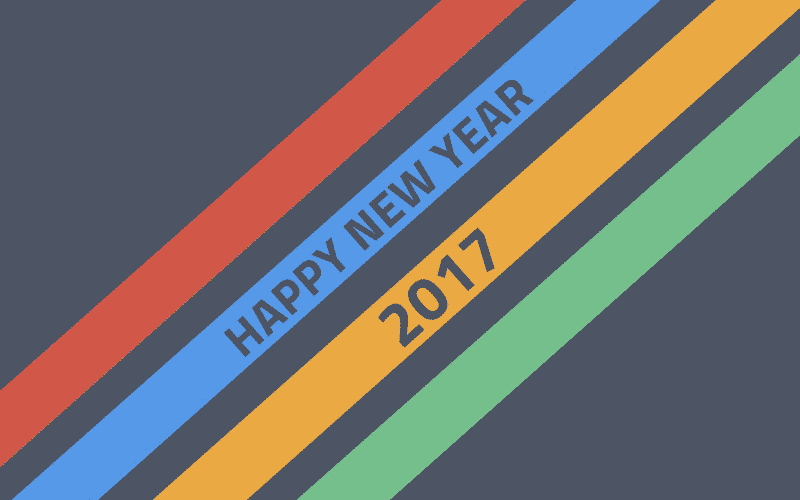 Happy New Year 2017 with multi color strips